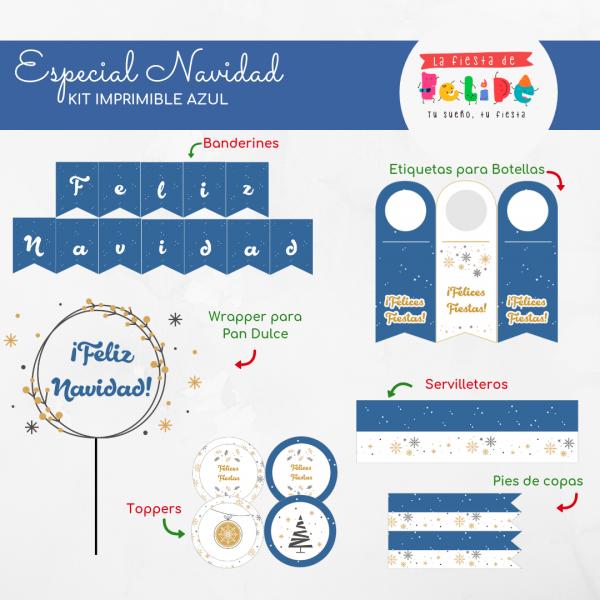La Fiesta de Felipe - ESPECIAL NAVIDAD - Kit Imprimible Especial Navidad - AZUL