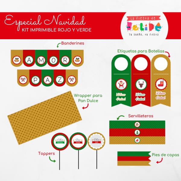 La Fiesta de Felipe - ESPECIAL NAVIDAD - Kit Imprimible Especial Navidad - ROJO